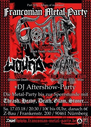 WOUND (Oldschool Death Metal   Hessen) THE NEGATIVE BIAS (Atmospheric Black  Metal   Wien) + Aftershowparty Mit Thrash, Death, Heavy, Glam, Stoner